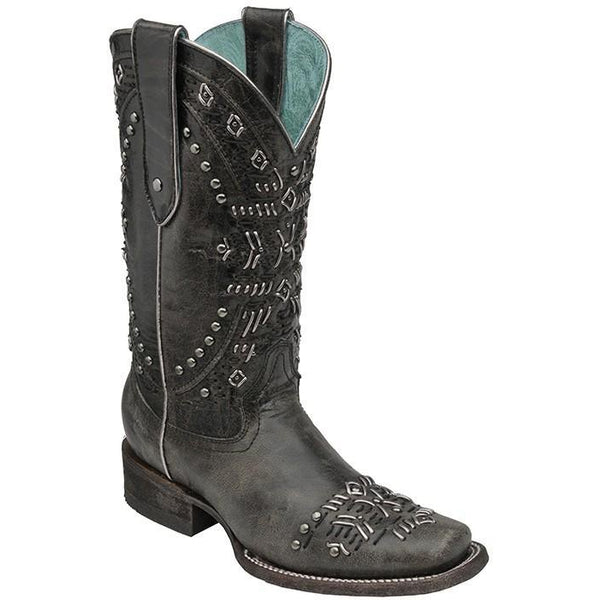 Corral Boots LD Black/Metallic Knitting & Studs Square Toe C2917 - West 20 Saddle Co.