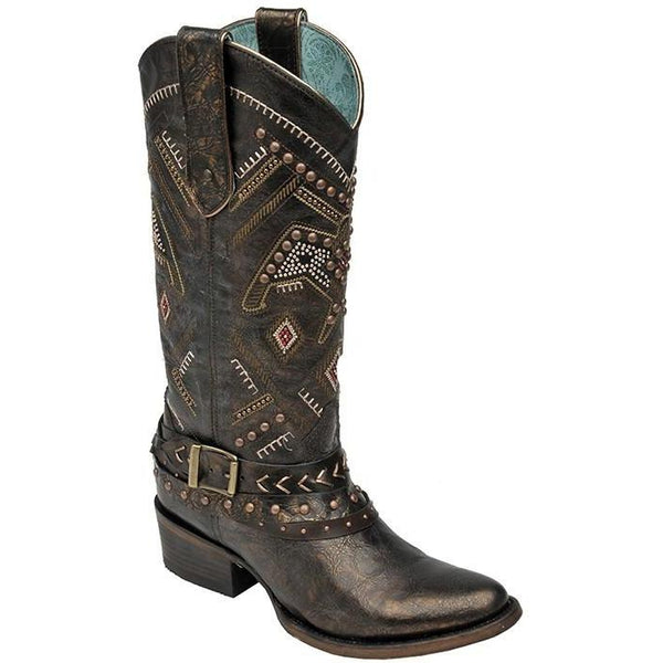 Corral Boots LD Copper/Red Studded Thunderbird & Harness C2932 - West 20 Saddle Co.