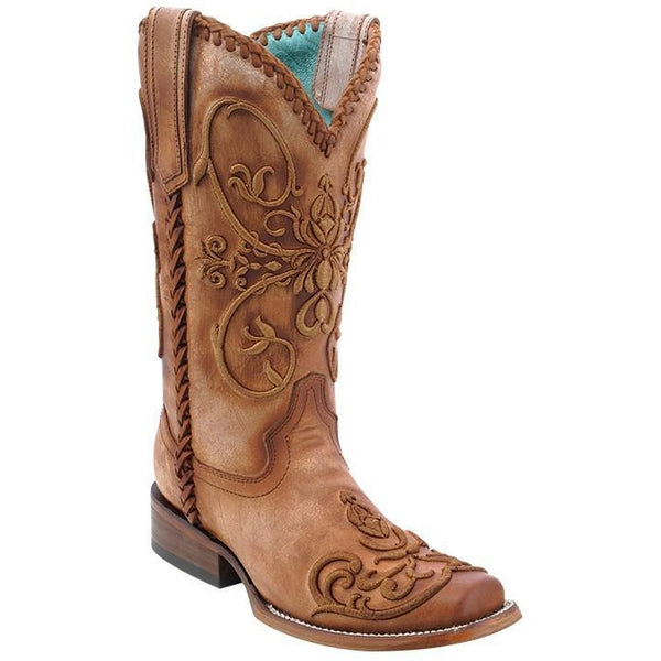 Corral Boots LD Tan Whip Stitch Square Toe C2980 - West 20 Saddle Co.