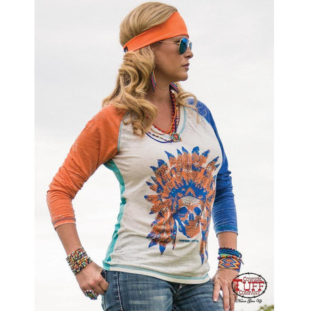 Cowgirl Tuff Colorful Burnout Long Sleeve with Skull and Studs Print - West 20 Saddle Co.