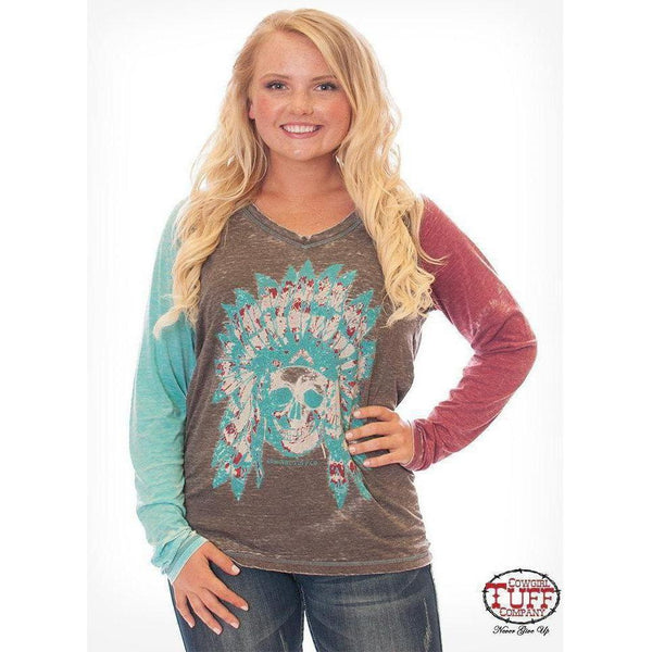 Cowgirl Tuff Colorful Burnout Long Sleeve with Skull Print - West 20 Saddle Co.