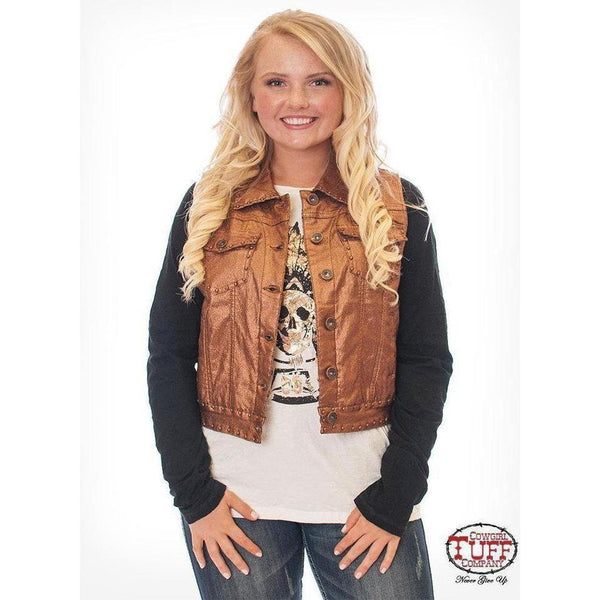 Cowgirl Tuff Copper Metallic Denim Vest - West 20 Saddle Co.