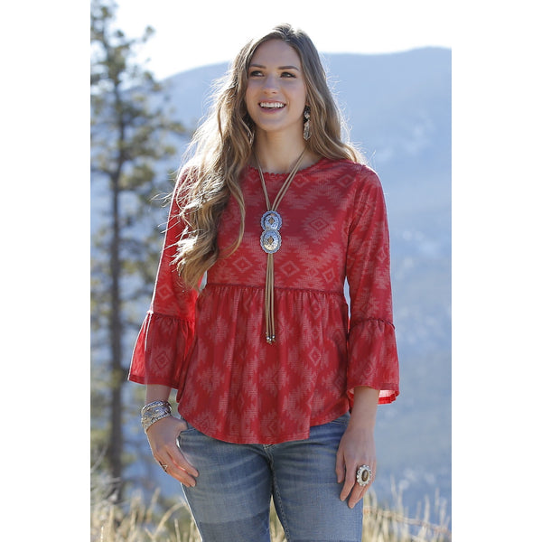 Cruel Womens Red Printed Babydoll Blouse