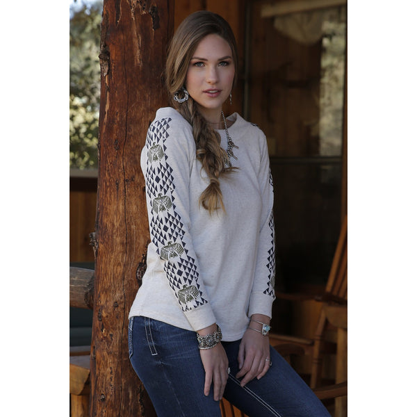 Cruel Womens Heather Cream Long Sleeve Sweatshirt