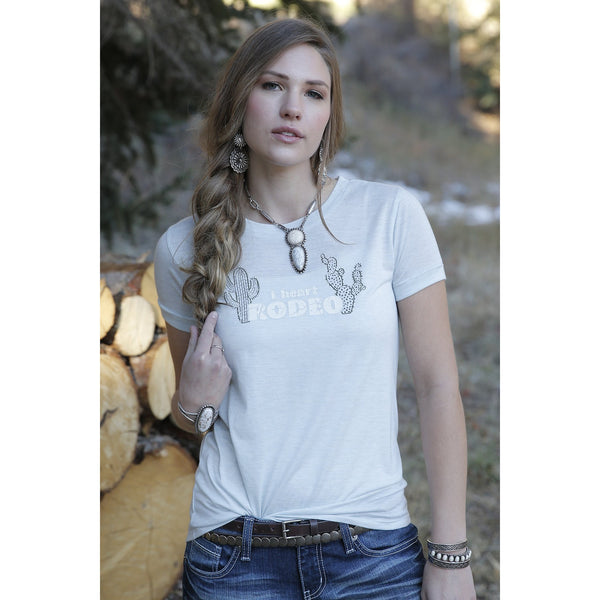 Cruel Womens Heather Green I Heart Rodeo Tee