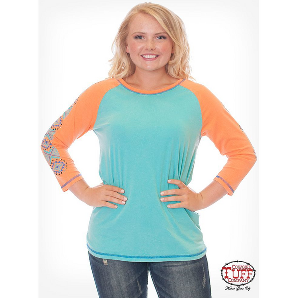 Cowgirl Tuff Coral & Turquoise Aztec Baseball Tee - West 20 Saddle Co.