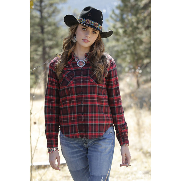 Cruel Women's Red and Black Brushed Twill Plaid