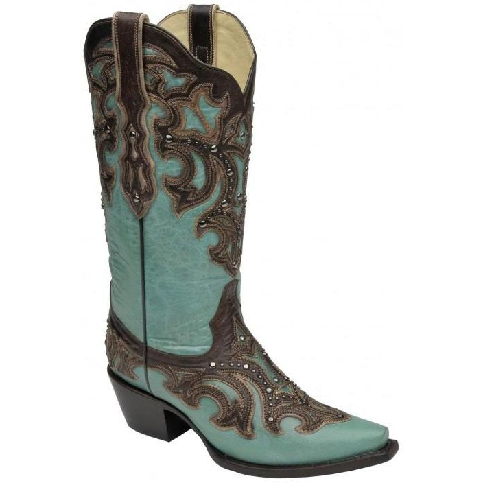 Corral Boots LD Turquoise/ Chocolate Inlay & Studs G1184 - West 20 Saddle Co.