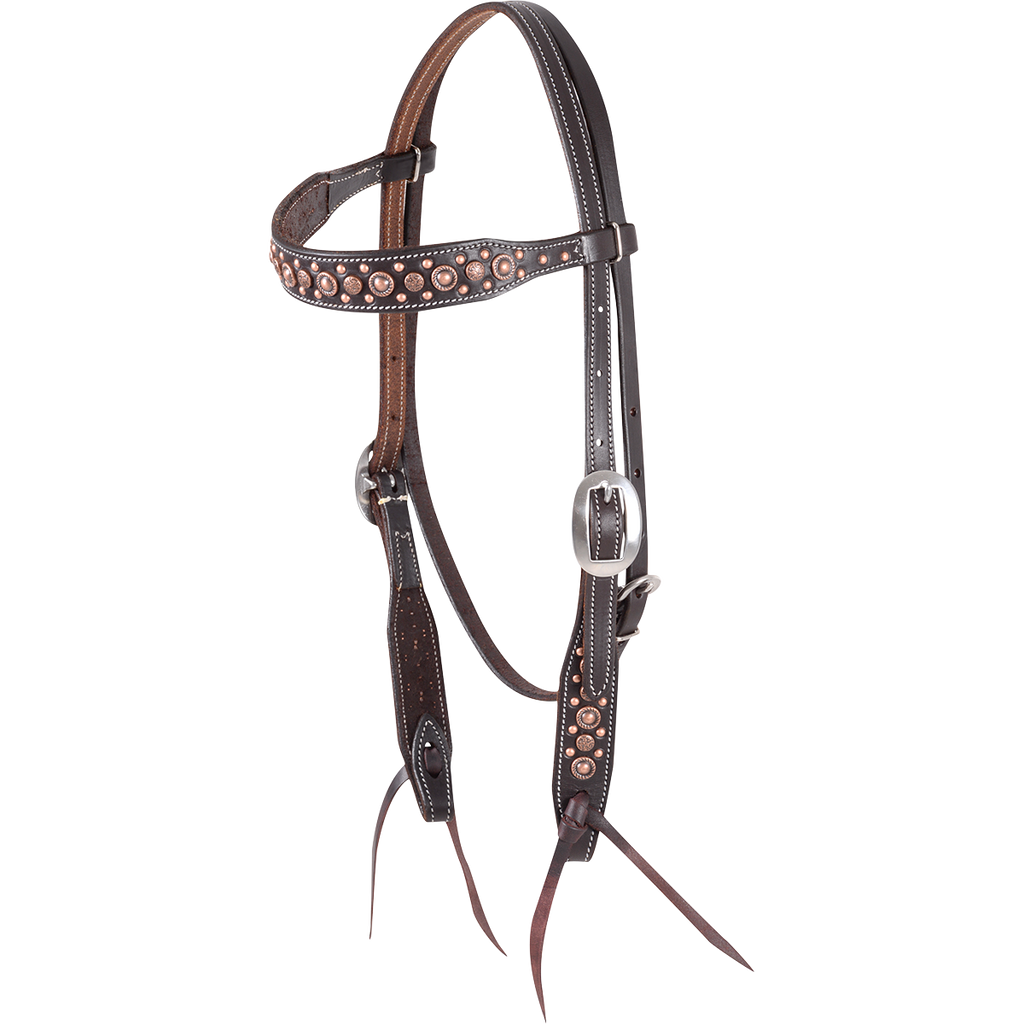 Martin Antique Copper Dot Headstall - West 20 Saddle Co.