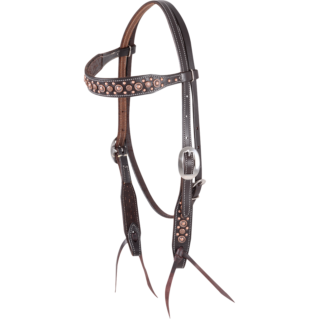 Martin Saddlery Antique Copper Dotted Headstall