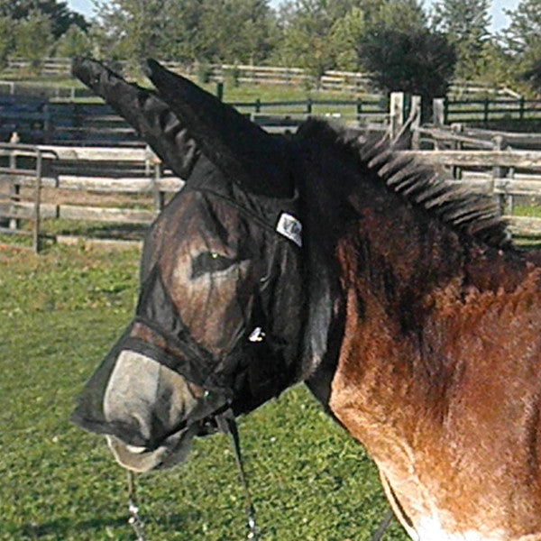 Cashel Quiet Ride Fly Mask- Long Nose with Donkey/Mule Ears