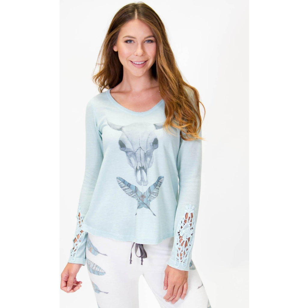 PJ Salvage Navajo Long Sleeve Top Aqua - West 20 Saddle Co.