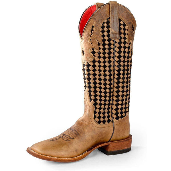 Macie Bean German Chocolate Weave Cowgirl Boots - West 20 Saddle Co.