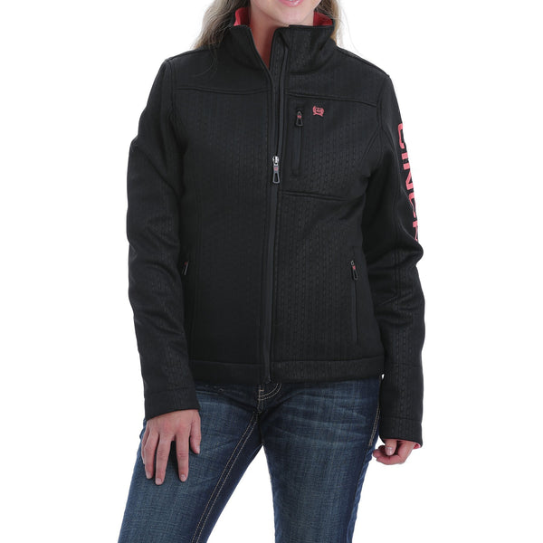 Cinch Women's Concealed Carry Embossed Bonded Jacket-Black/Coral