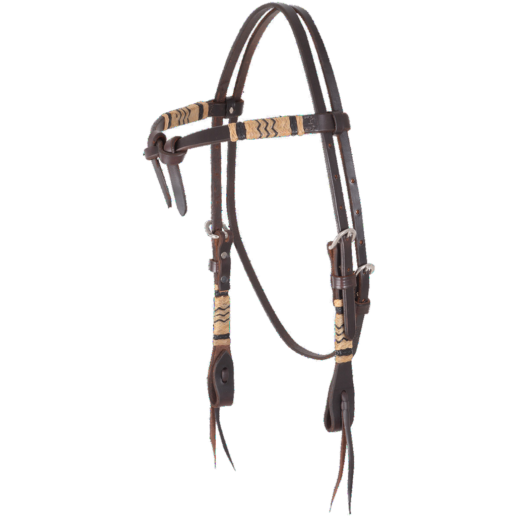 Martin Chocolate Rawhide Braided Tie Front Headstall - West 20 Saddle Co.
