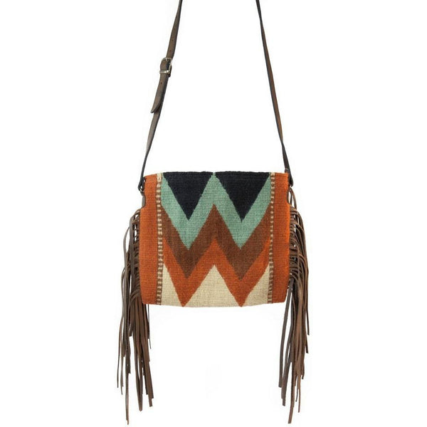 Manos Zapotecas Mountain Chevrons Palomita Fringe Bag - West 20 Saddle Co.