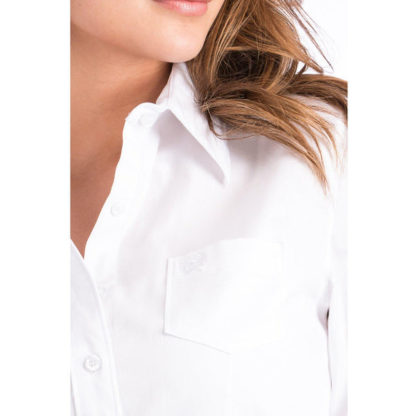 Ladies White Arena Fit Button Up Shirt