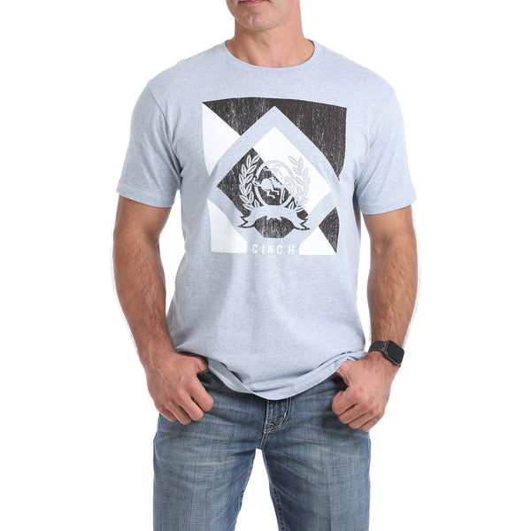 Cinch Mens Graphic Tee-Heather Blue