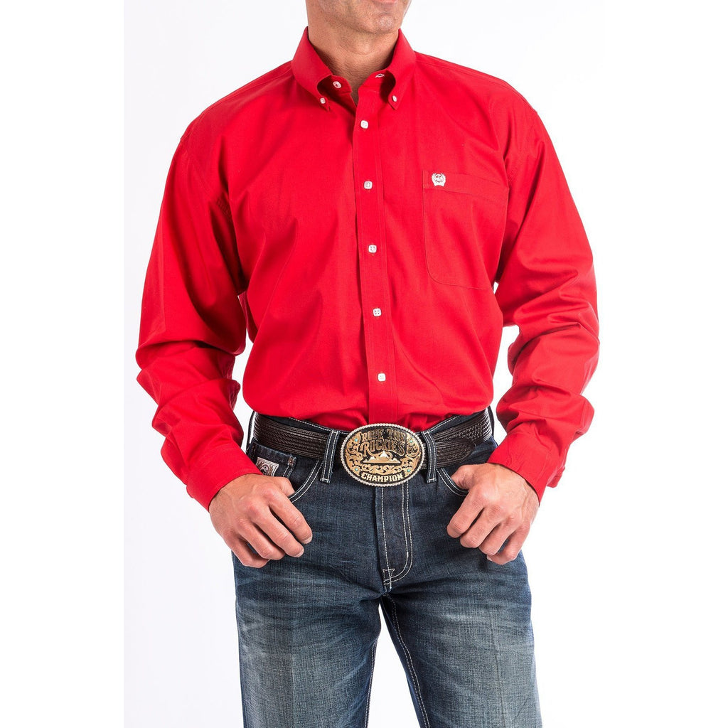 Cinch Men's Solid Red Button-Down Western Shirt - West 20 Saddle Co.