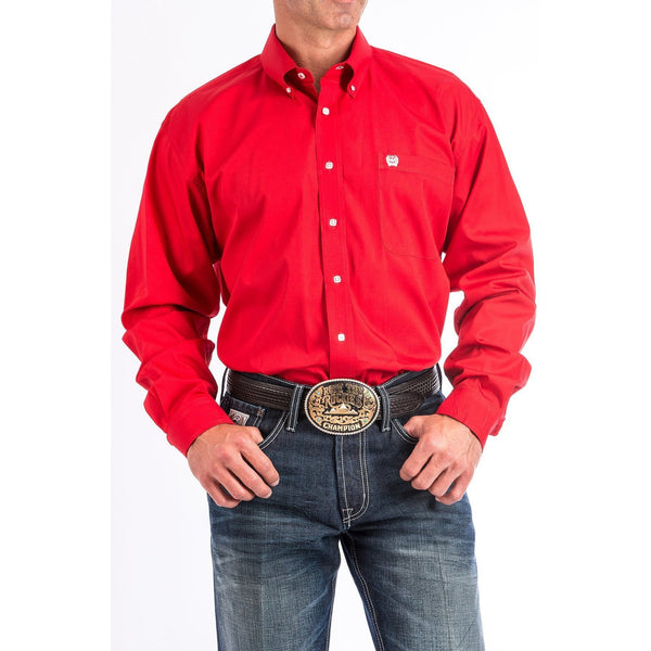 Cinch Men's Solid Red Button-Down Western Shirt