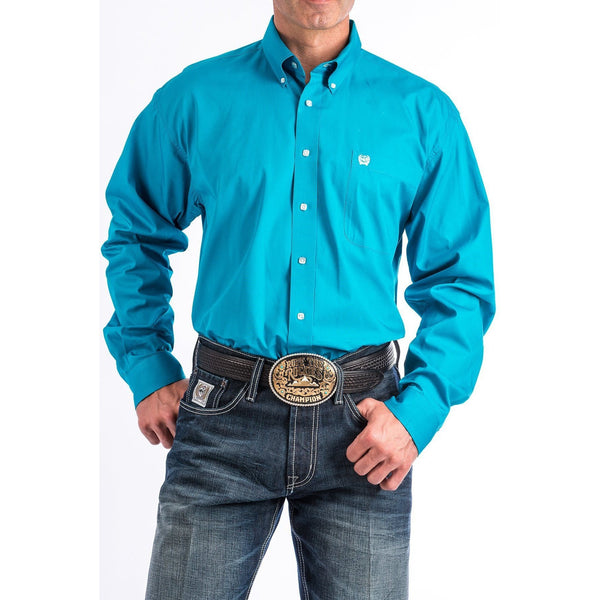Cinch Men's Solid Turquoise Button-Down Western Shirt - West 20 Saddle Co.