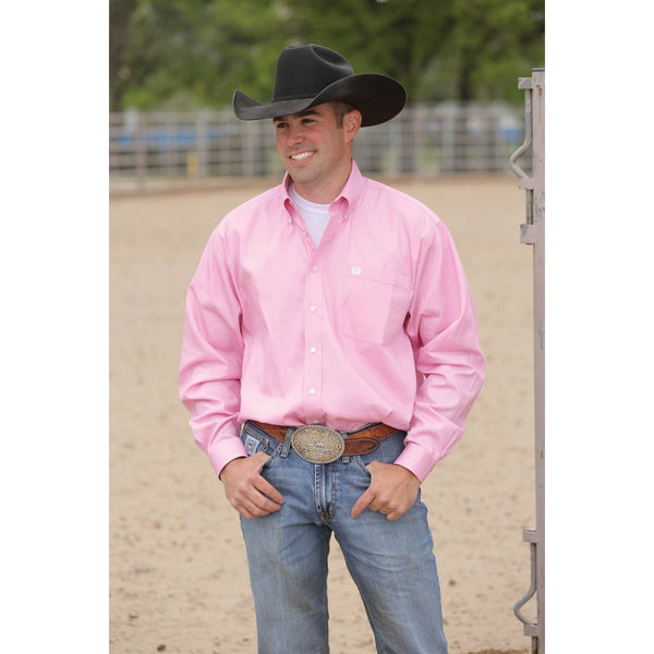 Cinch Men's Long Sleeve Shirt-Pink