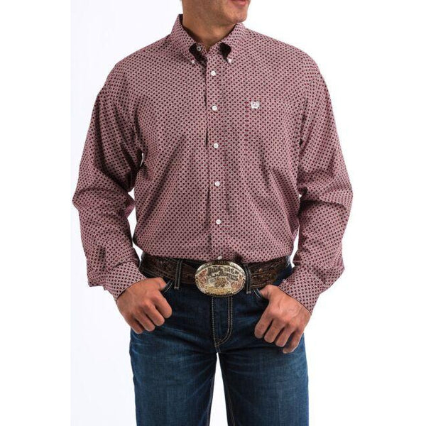 Cinch Men's Burgundy Geometric Print Long Sleeve Shirt
