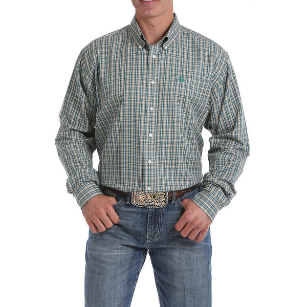 Cinch Men's Tencel Khaki and Green Plaid Button-Down Western Shirt