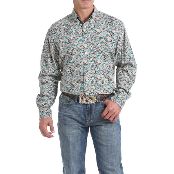 Cinch Mens Green, Khaki and Chocolate Brown Paisley Print Button-Down Shirt