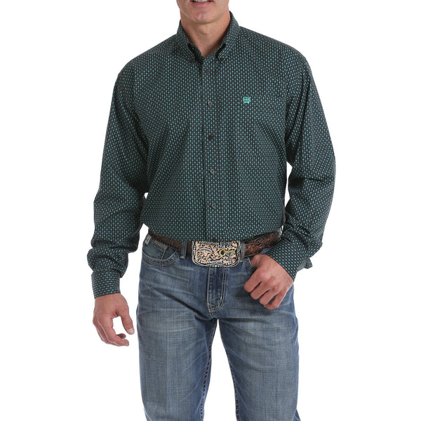 Cinch Men's Chocolate Brown and Green Geometric Print Button-Down Shirt