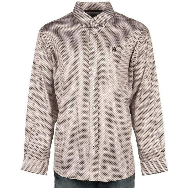 Cinch Men's Tan and Black Printed Long Sleeve Button-Down Shirt