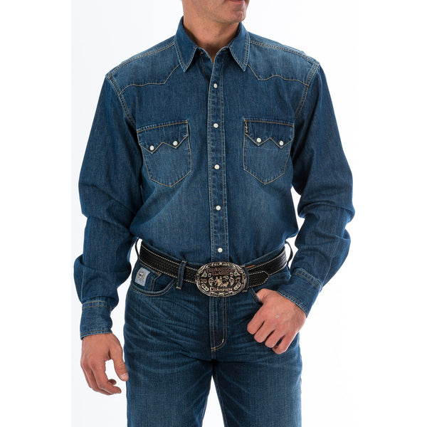 Cinch Mens Denim Western Snap Shirt
