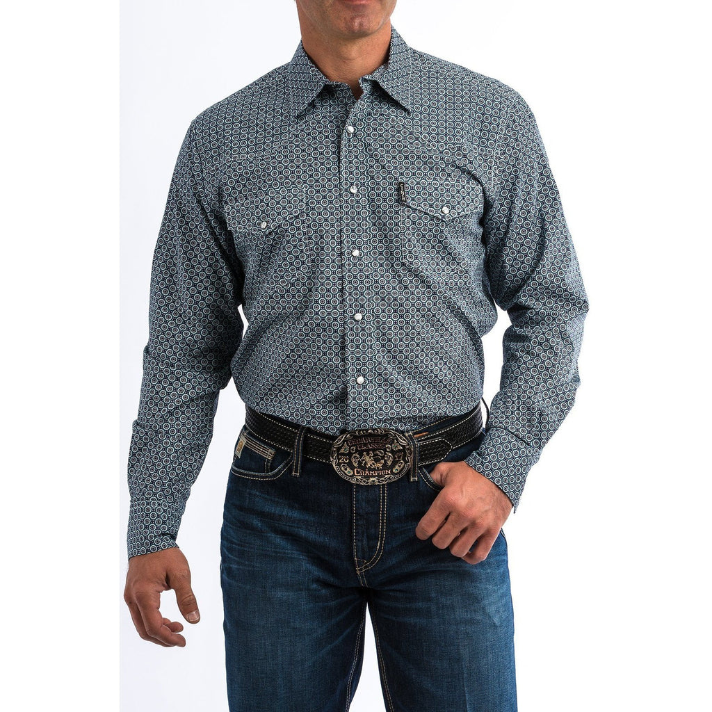 Cinch Men's Teal And Purple Geometric Print Western Snap Shirt - West 20 Saddle Co.