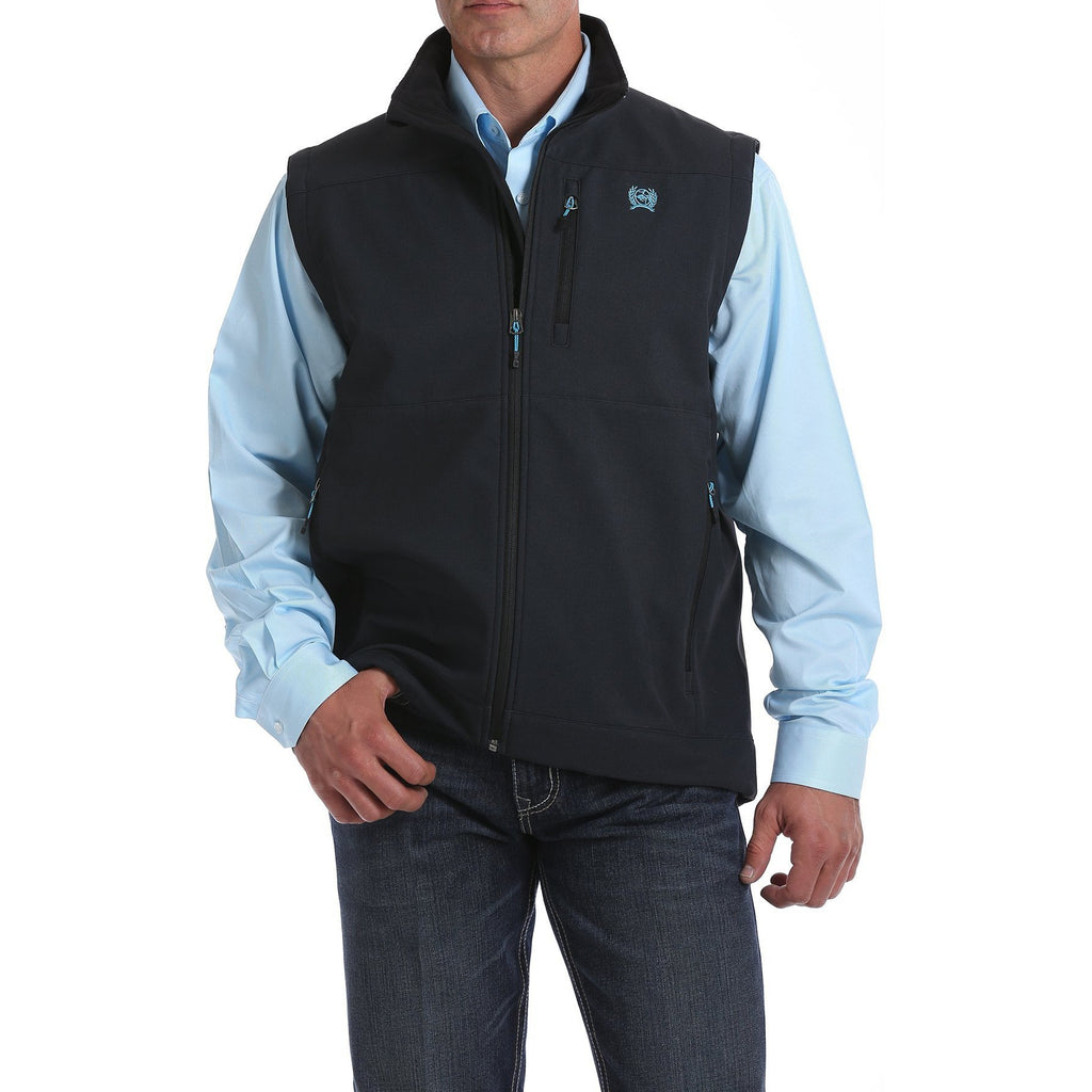 Cinch Mens Bonded Vest-Charcoal/Electric Blue