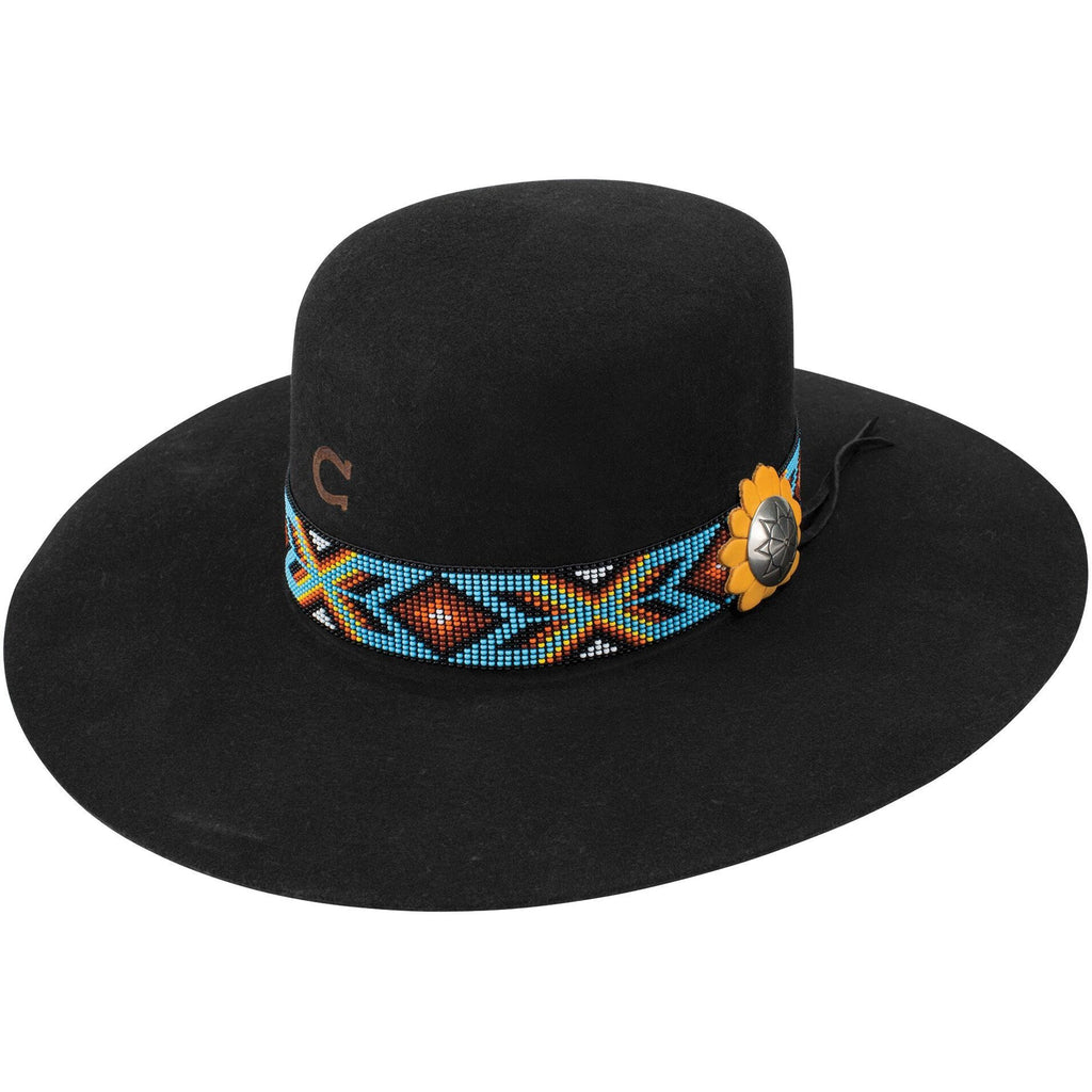 Charlie 1 Horse Ladies Black Outlaw Hat with Beaded Band and Feather