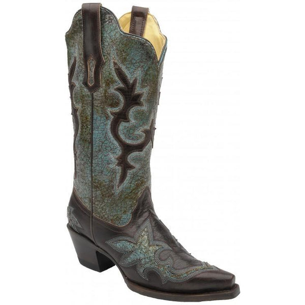 Corral Boots LD Turquoise-Green/Chocolate Patch R1178 - West 20 Saddle Co.