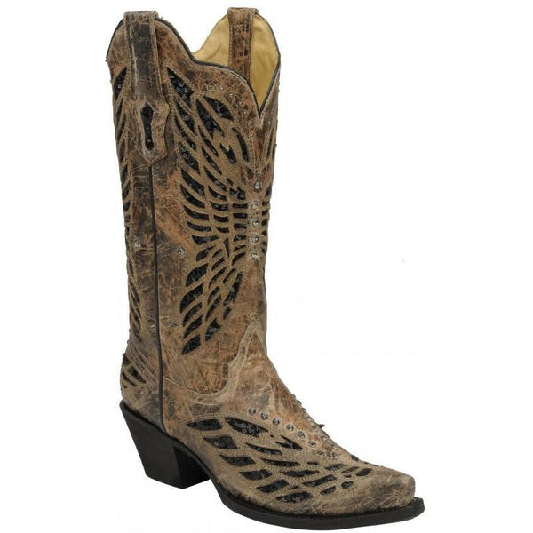 Corral Boots LD Bronze/Black Sequence & Crystals Butterfly R1211 - West 20 Saddle Co.