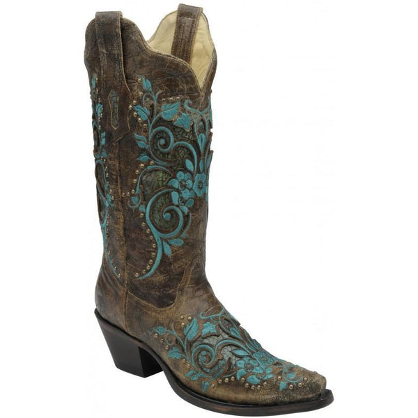 Corral Boots Dark Antique Saddle/ Turquoise Inlay & Studs R1213 - West 20 Saddle Co.