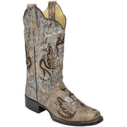 Corral Boots Square Toe Blue-Bone with Brown Inlay R1287 - West 20 Saddle Co.