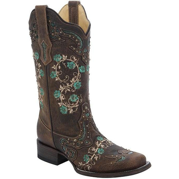 Corral Boots LD Brown/Turquoise Floral Embroidery & Studs Square Toe R1373 - West 20 Saddle Co.