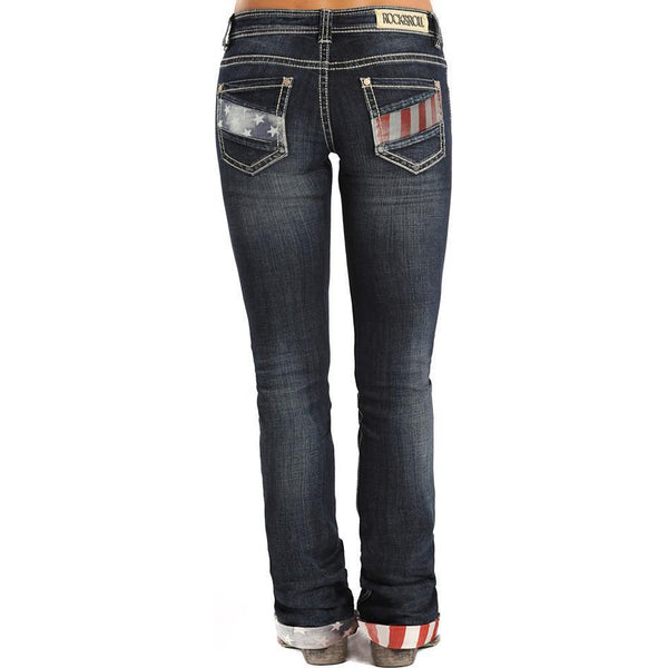 Panhandle Slim Mid Rise Rock&Roll Cowgirl- Stars and Stripes Boyfriend Jean - West 20 Saddle Co.