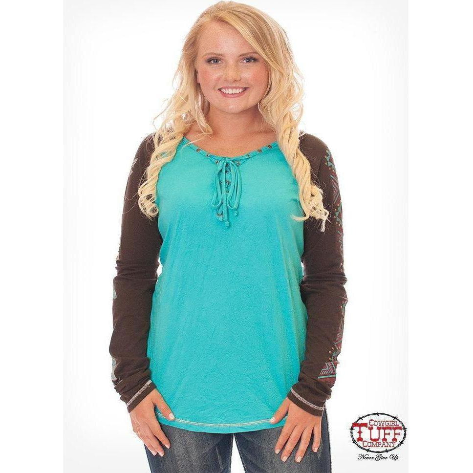 Cowgirl Tuff Turquoise and Chocolate Raglan tee with Aztec Roses print sleeves and studs - West 20 Saddle Co.