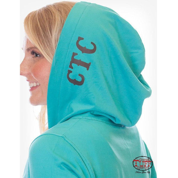 Cowgirl Tuff Turquoise athletic zip hoodie with branded print thumb holes and pocket opening for earbuds - West 20 Saddle Co.