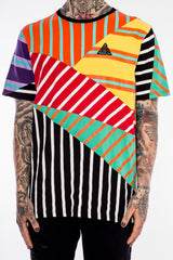 Mixed Striped Tee - Black Pyramid