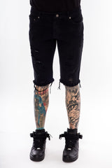 Ripped Denim Black Shorts - Black Pyramid