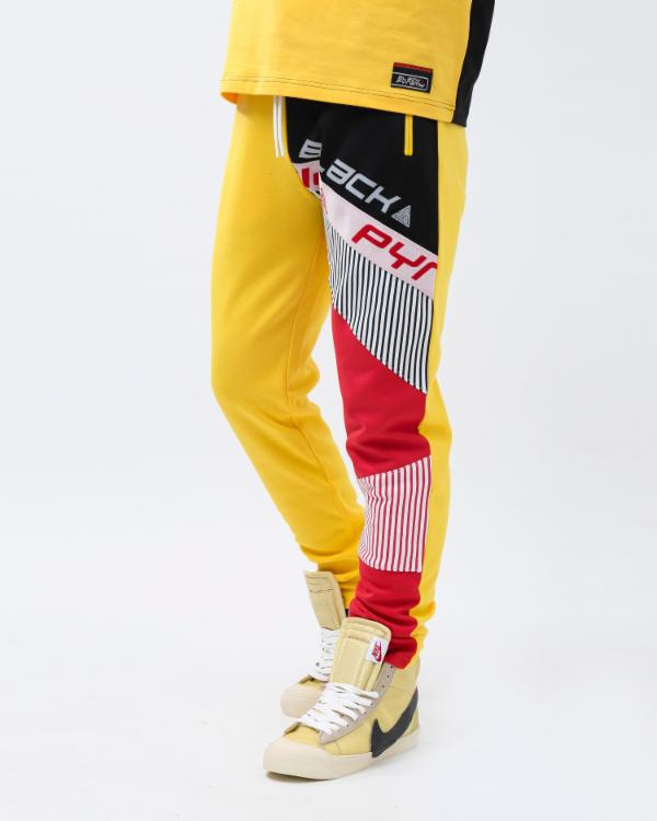 BP SHOULDER STRAP LOGO TRACK PANT-COLOR: YELLOW