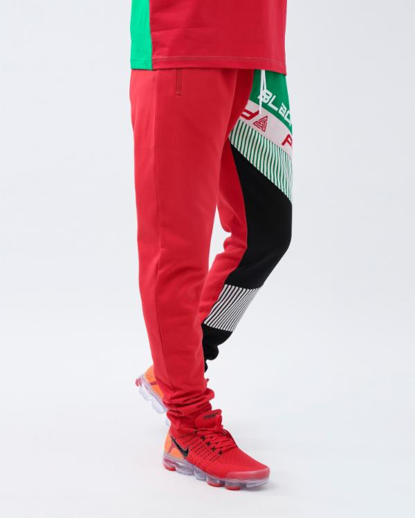 BP SHOULDER STRAP LOGO TRACK PANT-COLOR: RED