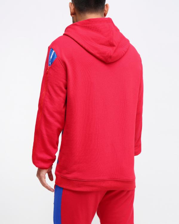MESH INSERT HOODY-COLOR: RED