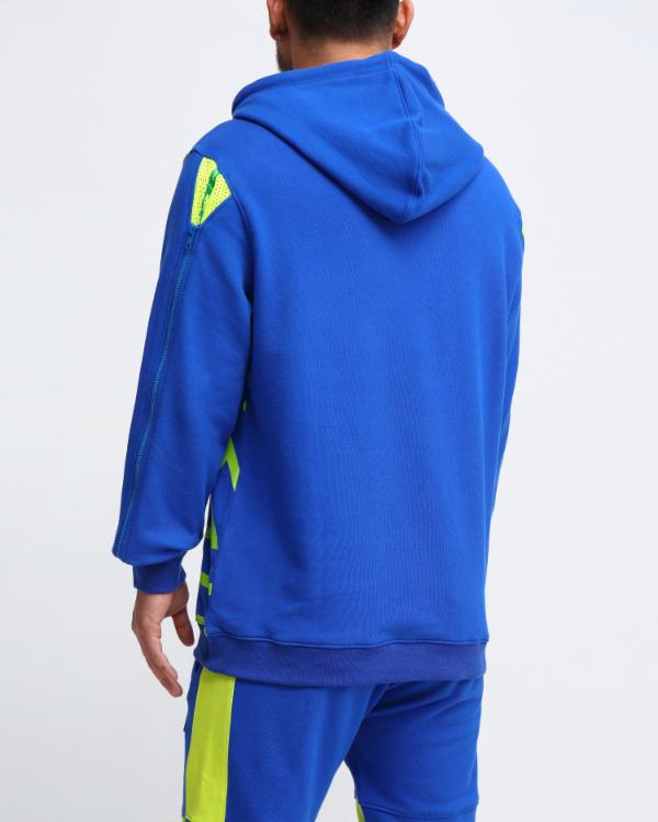 MESH INSERT HOODY-COLOR: ROYAL BLUE