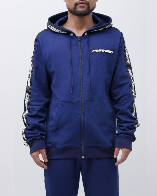 SPEED STRIPE LOGO FULL ZIP HOODY-COLOR: NAVY